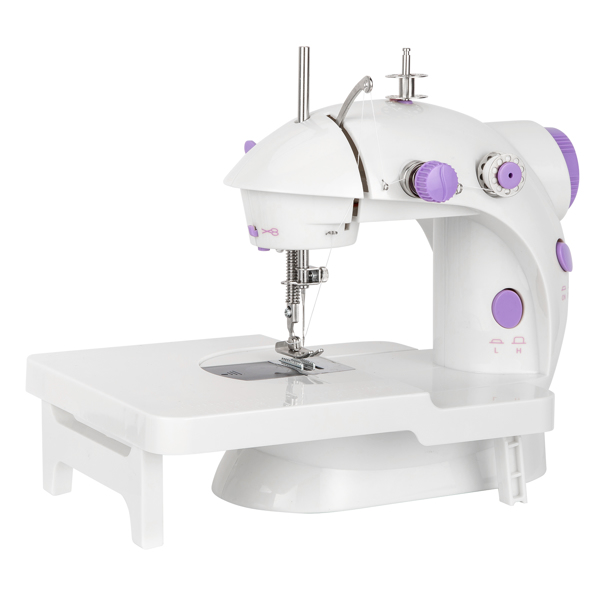 ZOKOP FHSM-202 Sewing Machine With Extension Table, Crafting Mending Machine, Portable Household Electric Small Desktop Multifunctional Seaming Machine Manual Sewing Machine White&Purple