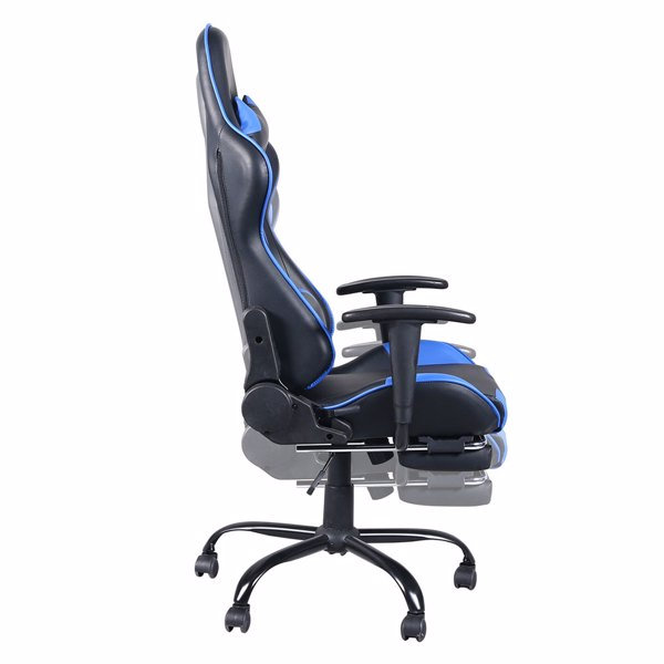 Gaming Chair, Gaming Chair with Foot Support, Ergonomic Desk Chair, Adjustable PC Gamer Chair for Adults, Black & Blue