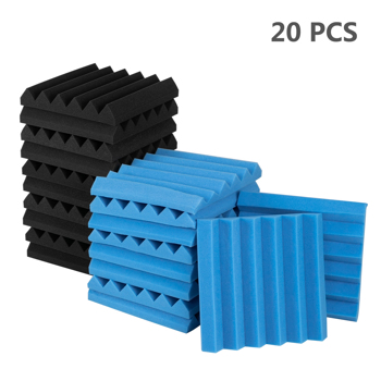 "20pcs 12""x12""x2"" Acoustic Foam Panel Wedge Studio Soundproofing Wall Padding Black and Blue"