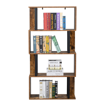 Bookcase and Bookshelf 4 Tier Display Shelf, S-Shaped Z-Shelf Bookshelves, Freestanding Multifunctional Decorative Storage Shelving for Home Office, Vintage Brown Industrial Style