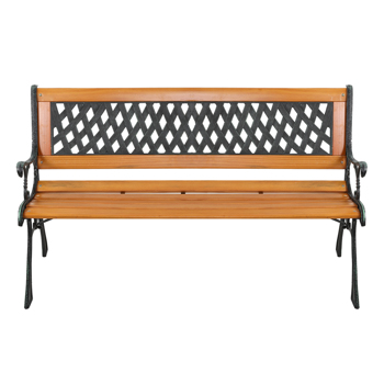 "49"" Garden Bench Patio Porch Chair Deck Hardwood Cast Iron Love Seat Weave Style Back"