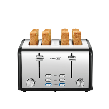 Toaster 4 Slice, Geek Chef Stainless Steel Extra-Wide Slot Toaster with Dual Control Panels of Bagel/Defrost/Cancel Function, 6 Toasting Bread Shade Settings.Prohibit shelves in the Amazon
