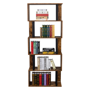 Bookcase and Bookshelf 5 Tier Display Shelf, S-Shaped Z-Shelf Bookshelves, Freestanding Multifunctional Decorative Storage Shelving for Home Office, Vintage Brown Industrial Style