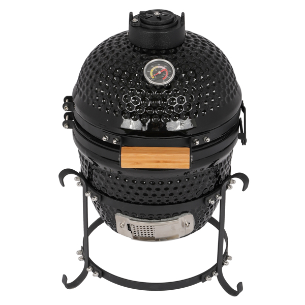 13in Round Ceramic Charcoal Grill Black