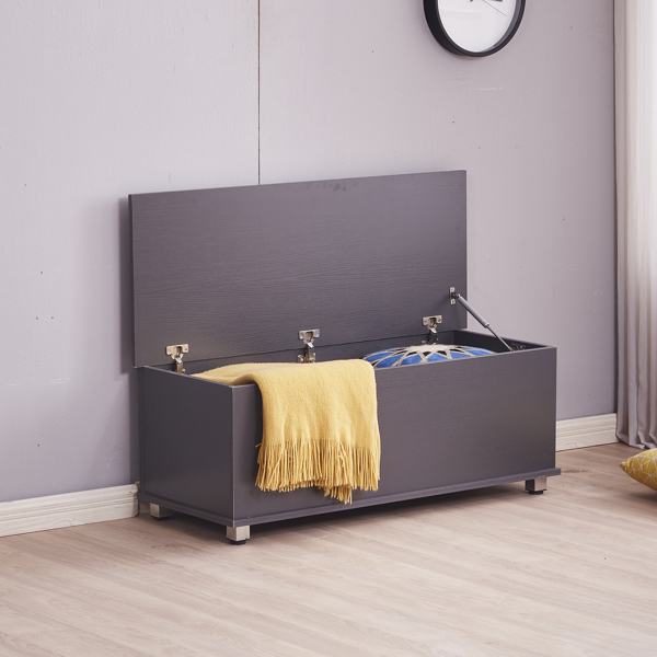 Ottoman Storage Trunk Toy Chest Bedding or Blanket Box Large Wooden , Gray Color