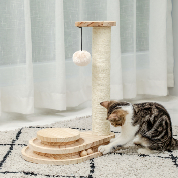 Wooden Cat Scratcher Toy Cat Tracks Teardrop Interactive Track Ball Turntable with Scratching Post and Dangling Ball for Cat