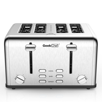 Toaster 4 Slice, Geek Chef Stainless Steel Extra-Wide Slot Toaster with Dual Control Panels of Bagel/Defrost/Cancel Function(Sliver-Black).Prohibit shelves in the Amazon