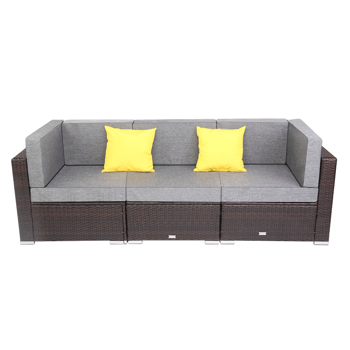 3 Pieces Patio PE Wicker Rattan Corner Sofa Set