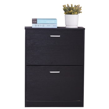 2 Tier Shoe Cabinet Wooden Shoe Storage Cupboard Organizer Unit with 2 Drawer Black