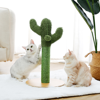Cactus Cat Scratching Post 20.7'' Cat Scratcher with Sisal Rope for Small & Medium Cats Kittens Green