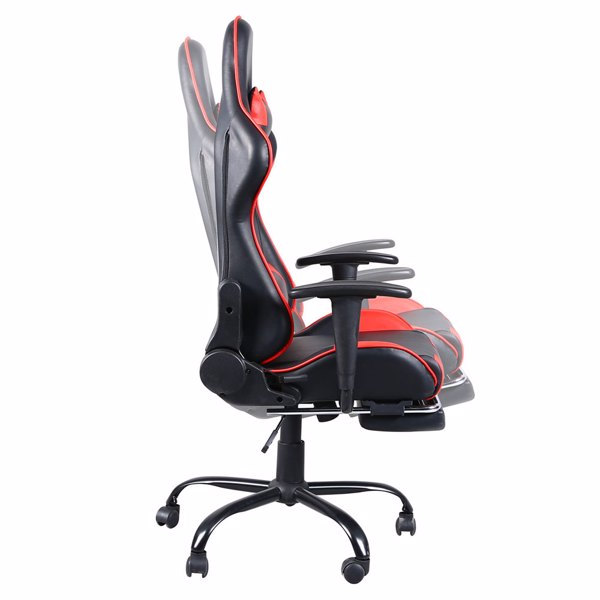 Gaming Chair, Gaming Chair with Footrest, Ergonomic Desk Chair, Adjustable PC Gamer Chair for Adults, Black & Red