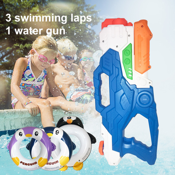 Swimming Pool Floats And Water Gun Set For Kids, 3 Pcs Penguin Inflatable Pool Tubes And 1 Pc 2000cc Large Squirt Water Gun