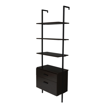 Industrial Bookshelf with Wood Drawers and Matte Steel Frame