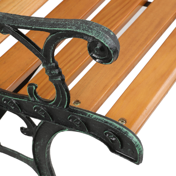 """49"""" Garden Bench Patio Porch Chair Deck Hardwood Cast Iron Love Seat Rose Style Back"""