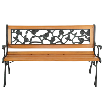 "49"" Garden Bench Patio Porch Chair Deck Hardwood Cast Iron Love Seat Rose Style Back"