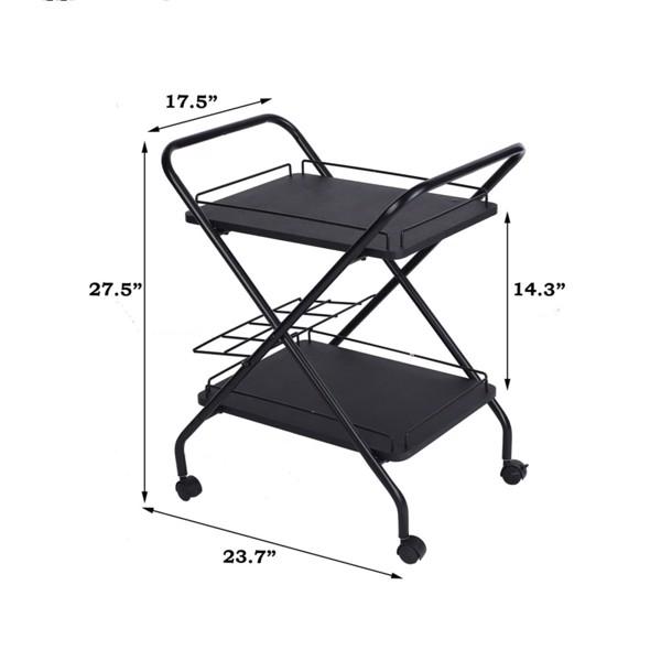 2-Tier Rolling Utility Cart with Wheels, Metal Bar Service Car With Wine Rack, Lockable Wheel, Multi-Functional Storage Rack For Bar Office And Kitchen