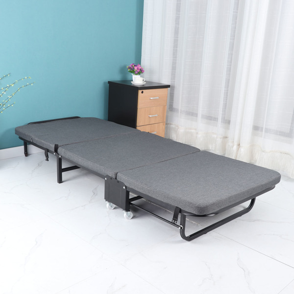 Folding Bed Frame with Thick Memory Foam Mattress Heavy Duty Cot Size Metal Bed