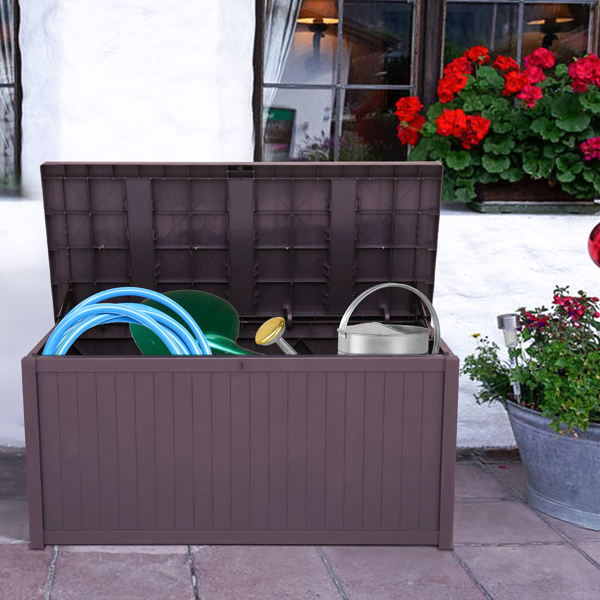 113gal 430L Outdoor Garden Plastic Storage Deck Box Chest Tools Cushions Toys Lockable Seat Waterproof