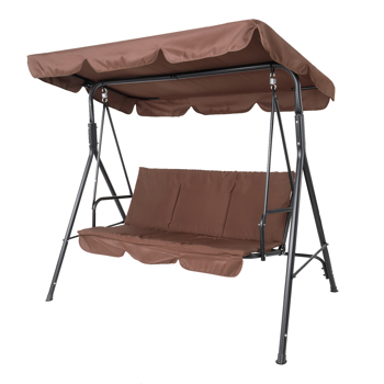 170*110*153cm  With Canopy and Cushion 250kg Load-Bearing Iron Swing Brown