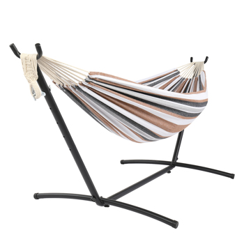 9ft Black Steel Pipe Hammock Frame with 200*150cm Polyester Cotton Hammock Coffee Strip Natural Rope Iron Hammock   Set