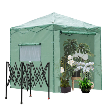 8*6ft Plastic Sprayed Iron Pipe PE Mesh Foldable Greenhouse Shed Green