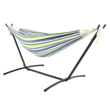 9ft Black Steel Pipe Hammock Frame with 200*150cm Polyester Cotton Hammock Green Strip Natural Rope Iron Hammock   Set