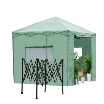 8*8ft Plastic Sprayed Iron Pipe PE Mesh Foldable Greenhouse Shed Green