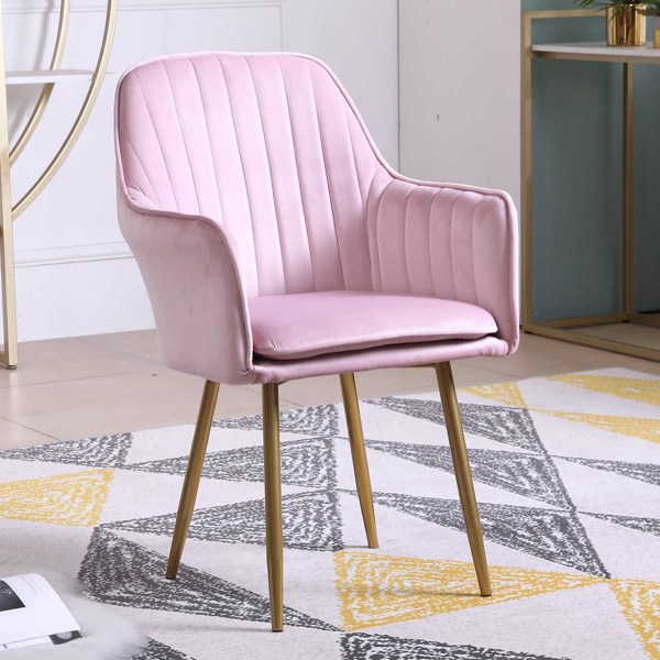 Modern Lounge Chair Dining Side Chairs Velvet Upholstered Armchair (Pink)