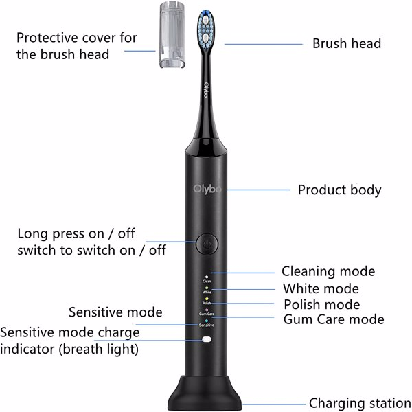Olybo Electric Toothbrush Sonic Toothbrushes for Adults, 5 Modes 48000VPM with 6 Replacement Brush Heads and Travel Case