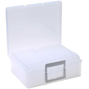 """Photo Case 4"""" x 6"""" Photo Box Storage and Craft Keeper - 16 Inner Photo Keeper,Photo Organizer Holder, Photos Storage Containers Box for Photos,Greeting Card Organizer Extra Large (Clear)"""