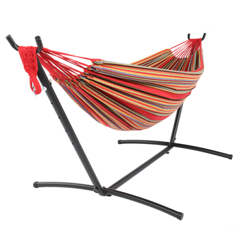9ft Black Steel Pipe Hammock Frame with 200*150cm Polyester Cotton Hammock Red Strip Red Rope Iron Hammock   Set
