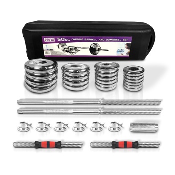 110lbs Adjustable Cast Iron Dumbbell Sets with Portable Packing Box 2In1 Dumbbells Barbell with Connecting Rod, 50kg Home Gym Training Free Weight Set for Men and Women