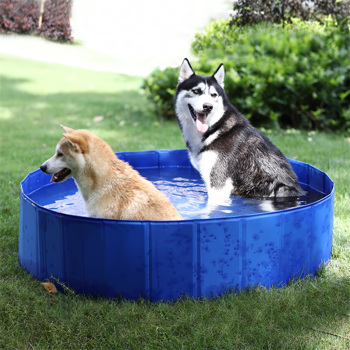 Foldable Dog Padding Pool Swimming Pool Puppy Cat Bath Tub Outdoor Portable Pet Garden Water Pond Ideal for Pets L Size 120*30cm