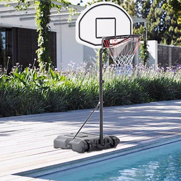 """28"""" x 19"""" Backboard Adjustable Pool Basketball Hoop System Stand Kid Poolside Swimming Water Maxium Applicable Ball Model 7# White & Black"""