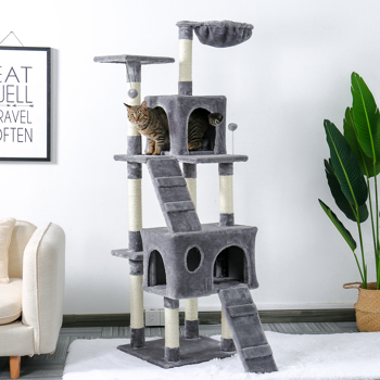 Multi-Level Wooden Cat Tree for Large Cat with Scratching Post, Cozy Condo, Top Perch and Dangling Ball Grey