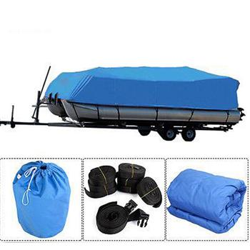 21-24ft 600D Oxford Fabric High Quality Waterproof Boat Cover with Storage Bag Blue