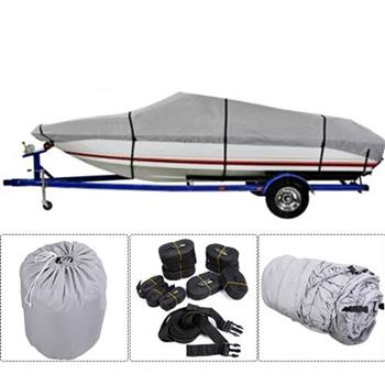 20-22ft 600D Oxford Fabric High Quality Waterproof Boat Cover with Storage Bag Gray
