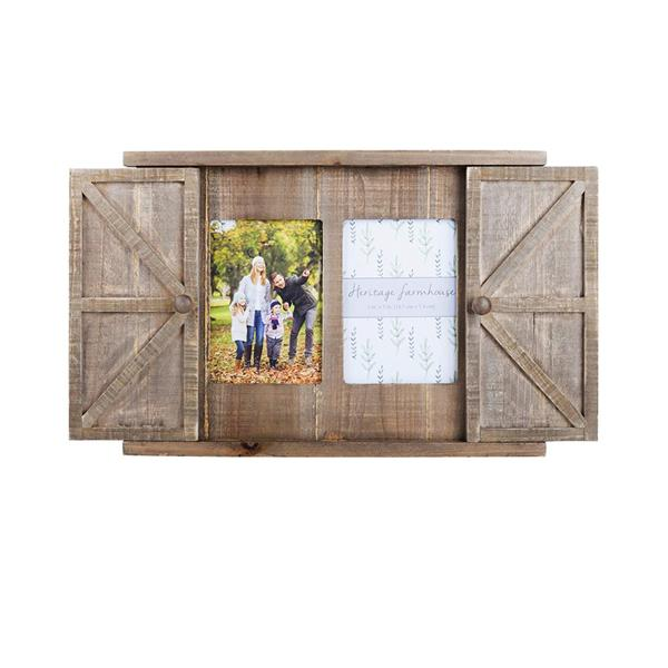 Wood Barn Door Picture Frame, 2 Openings  5x7 Wood Rustic Wall Photo Frame