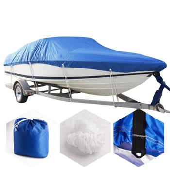 17-19ft 210D Oxford Fabric High Quality Waterproof Boat Cover with Storage Bag Blue