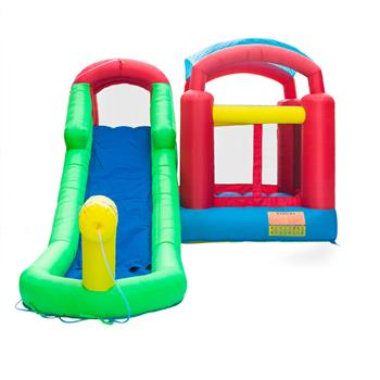 18.7ft x 11.6ft x 8.2ft Inflatable Water Slide Pool Bounce House Jumper Castle + 110V-120V 60Hz 6.2A 680W PE Engineering Plastic Shell Air Blower US P