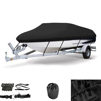 20-22ft 600D Oxford Fabric High Quality Waterproof Boat Cover with Storage Bag Black