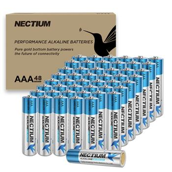 NECTIUM Superior Performance AAA Alkaline Pure-Gold-Bottom IoT Batteries (48 Count), Ultra Power, Long Lasting for IoT Devices and Smart Lock