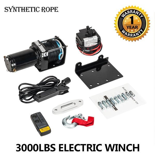 12V 3000LBS/1361KGS Electric Winch Synthetic Rope Wireless remote with warranty