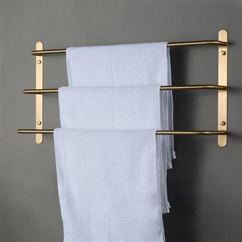 THREE Stagger Layers Towel Rack Luxury Brushed Gold 304 Stainless Steel Towel Bars Bathroom Accessories Set 23.62 inches KJWY003JIN-60CM