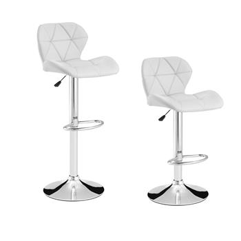 Cuban Bar stools with Backrest and padded gas lift swivel in polyurethane / Footrest and base in chromed steel Bar Chairs for Breakfast(White)