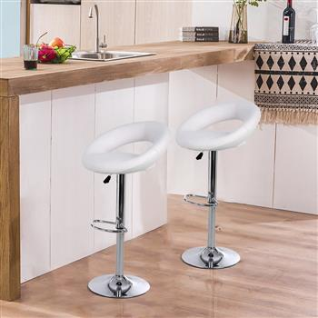 Bar Stools Set of 2,Faux Leatherr Bar Stools White Dinning Chairs,Bar Chairs With 360 Degree Swivel Adjustable Height.(White)