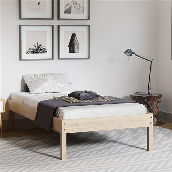 Bed Frame Rustic Wooden Slatted Bed Base with Wood Legs Simple Mattress Support Plateform for Bedroom