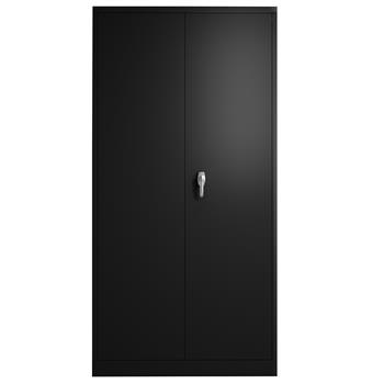 """Metal File Storage Cabinet with Door and Shelves 72""""H Lockable Steel Storage Cabinet with 4 Adjustable Shelves for Garage Office and Home (Black)"""