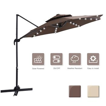 10 FT Solar Powered LED Patio Outdoor Umbrella Hanging Umbrella Cantilever Umbrella Offset Umbrella Easy Open Lift 360 Degree Rotation with 32 LED Lig