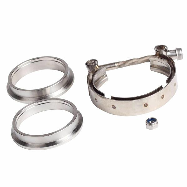 """1*2.5"""" V-Band Flange & Clamp Kit fits Turbo Exhaust Downpipes Stainless Steel"""